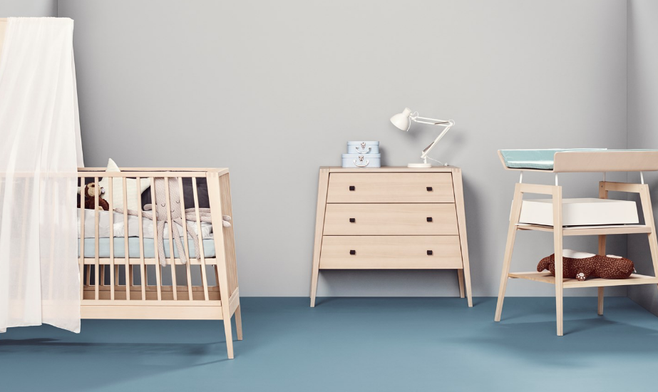 Nursery with Linea by Leander cot , change table and dresser
