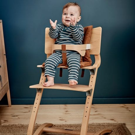 Leander Classic High Chair in Natural with Tan Leather Strap at Home
