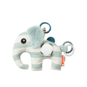 Baby toy elephant with rings, tabs and mirror to explore