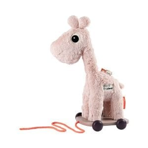 Done by Deer pink plush giraffe on wooden trolley to pull along