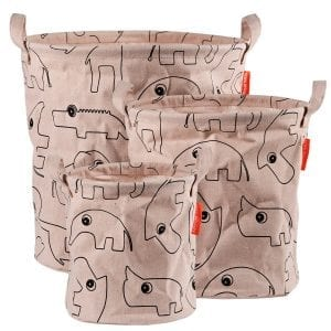 Done by Deer canvas storage basket set of three in pink with contour animal drawings