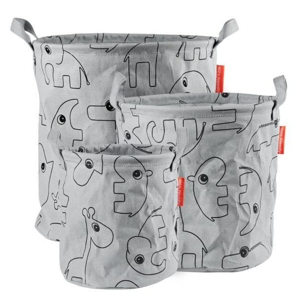 Done by Deer canvas storage basket set of three in grey with contour animal drawings