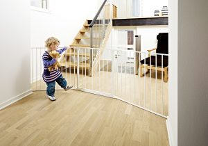 Room divided by BabyDan Flex Configure barrier and child is safe from stairs