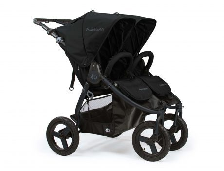 Bumbleride Indie Twin double pram in black with black frame