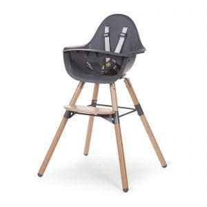 Evolu 2 baby highchair with natural legs and grey seat