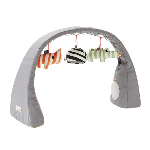 Grey baby play gym with 3 toys by done by deer