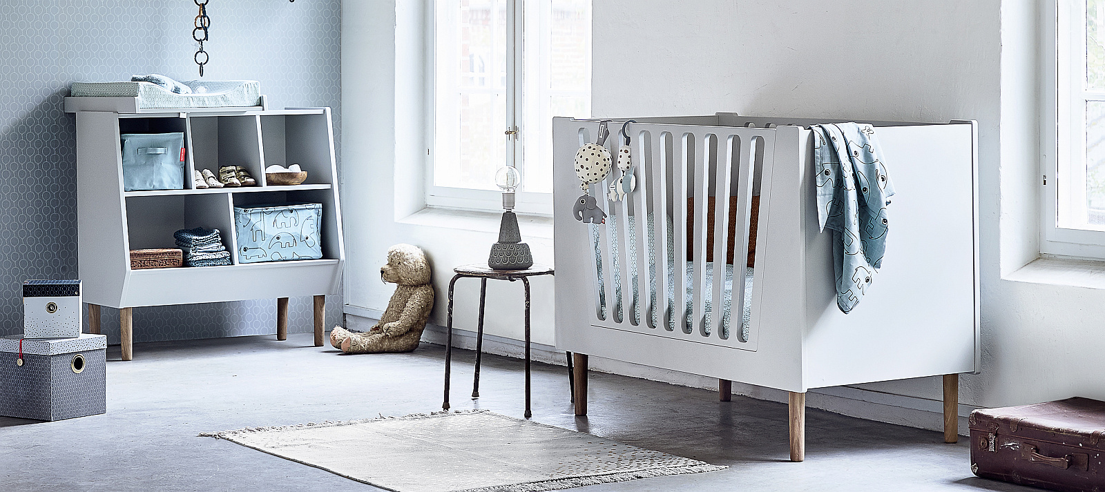Nursery with Done by Deer interiors in blue