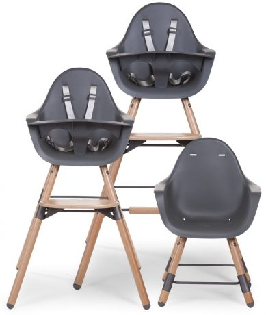 Evolu 2 high chair in grey with natural legs in all 3 configurations