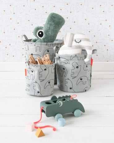 Done by Deer soft storage tubs in grey filled with toys