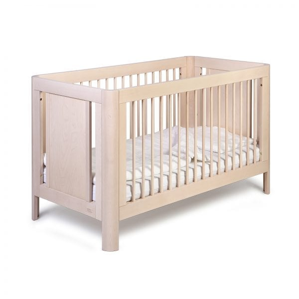 Troll sun cot in whitewash with mattress and linen