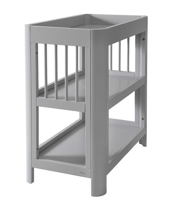 chagne table in grey with two open shelves