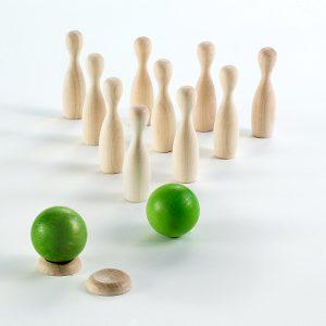 Milaniwood Mini Wooden Bowling Set Close Up