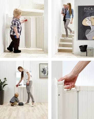 BabyDan retractable baby gate collage with the gate open or closed i various locations