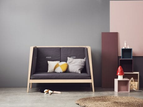 Linea by Leande cot as sofa with grey cushions