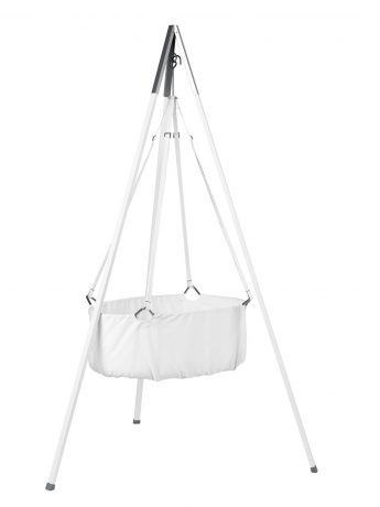 The Leander Cradle basket suspended from a tripod