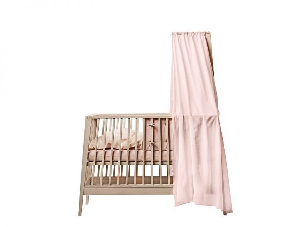 Linea by Leander cot in natural with pink canopy