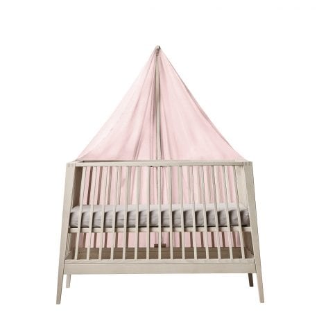 Linea cot in natural with pink sheet and canopy on the wide side