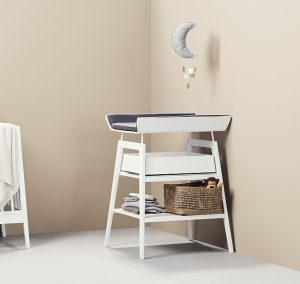 Linea by Leander change table in white with grey mat and white drawer