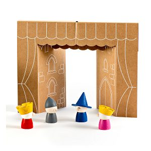Milaniwood Wooden Finger Puppets with theatre