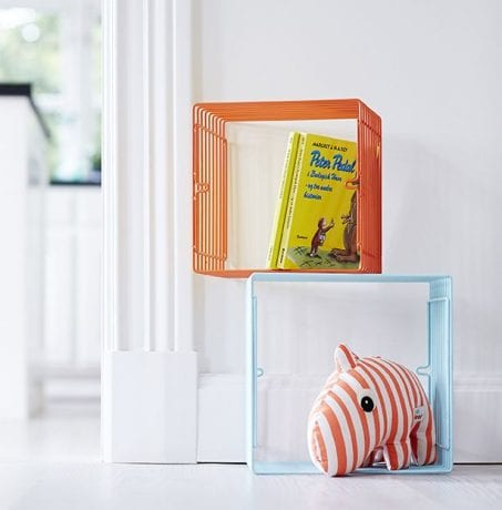 Bright wire storage cubes with books and toys from Done by Deer