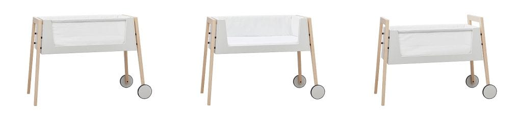 Linea by Leander cosleeping bassinet in 3 settings