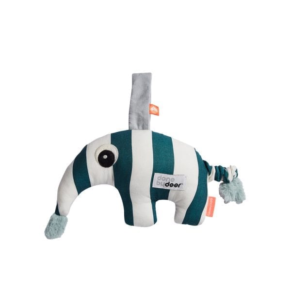 Striped anteater in blue and white as musical toy from Done by Deer