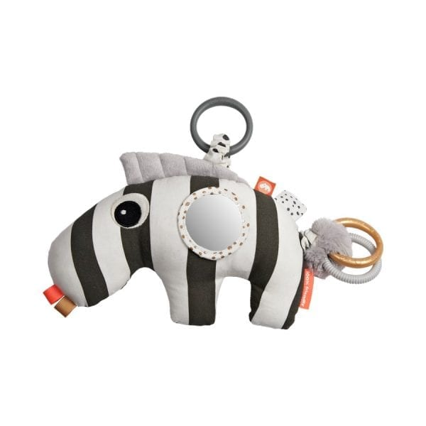 Black and white zebra baby toy with rings and tabs to explore