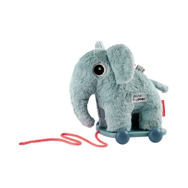 Plush blue elephant on trolley as a pull along toy