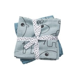 Set of two blue swaddles with contour animal drawings from done by deer