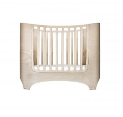 Leander oval baby cot in whitewash with mattress