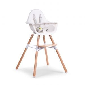 Evolu 2 high chair with white seat and natural wooden legs