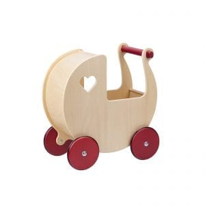 Moover natural wooden dolls pram with red handle and heart window