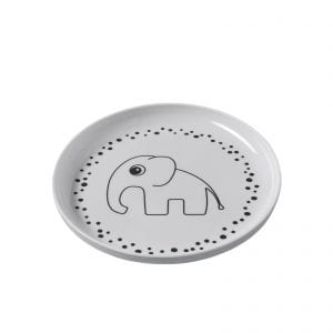 Cute baby plate in white and grey with bots and elephant print from Done by Deer