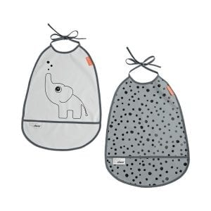 Grey toddler bib set with pockets and elephant and dot design from Done by Deer