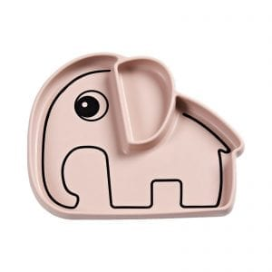 Elephant suction plate in pink from Done by Deer