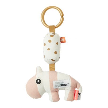 Pink striped animal rattle with ring so it can attach