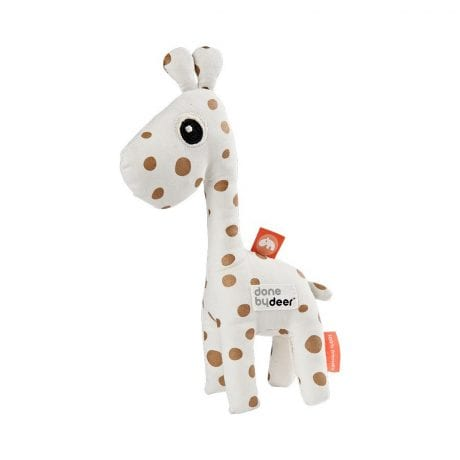 baby giraffe rattle with gold dots