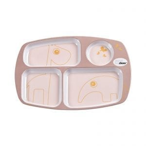 Done By Deer Kids Contour Compartment Plate in Powder Pink and Gold