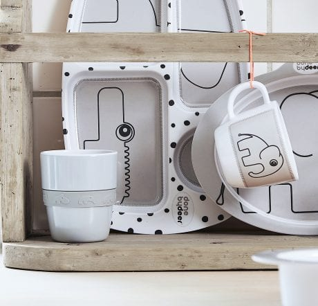 done by deer happy dots grey kids plates in kitchen rack