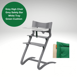 Grey Leander high chair salel with safety bar, tray and green cushion