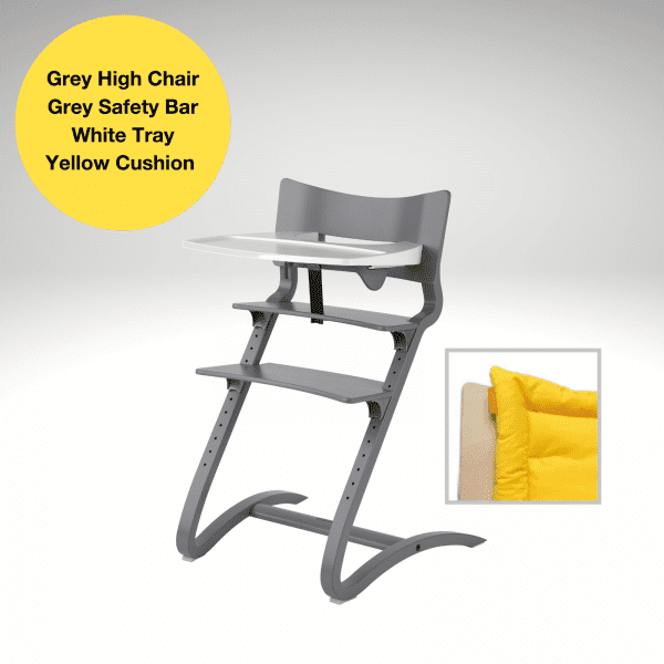 Grey Leander high chair special with safety bar, tray and yellow cushion