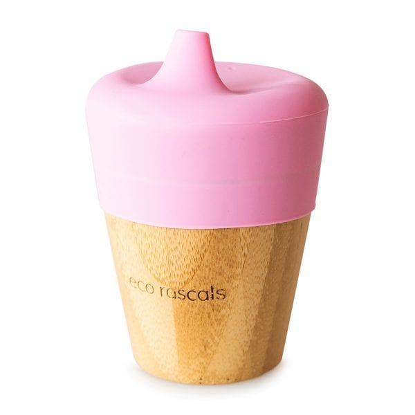 Eco Rascals organic bamboo sippy cup with silicone lid in pink