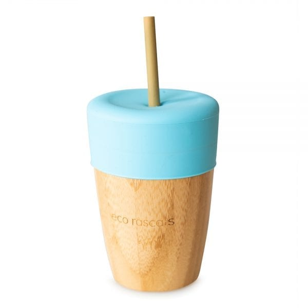 Eco Rascals organic bamboo large cup with silicone lid in blue and bamboo straw cup