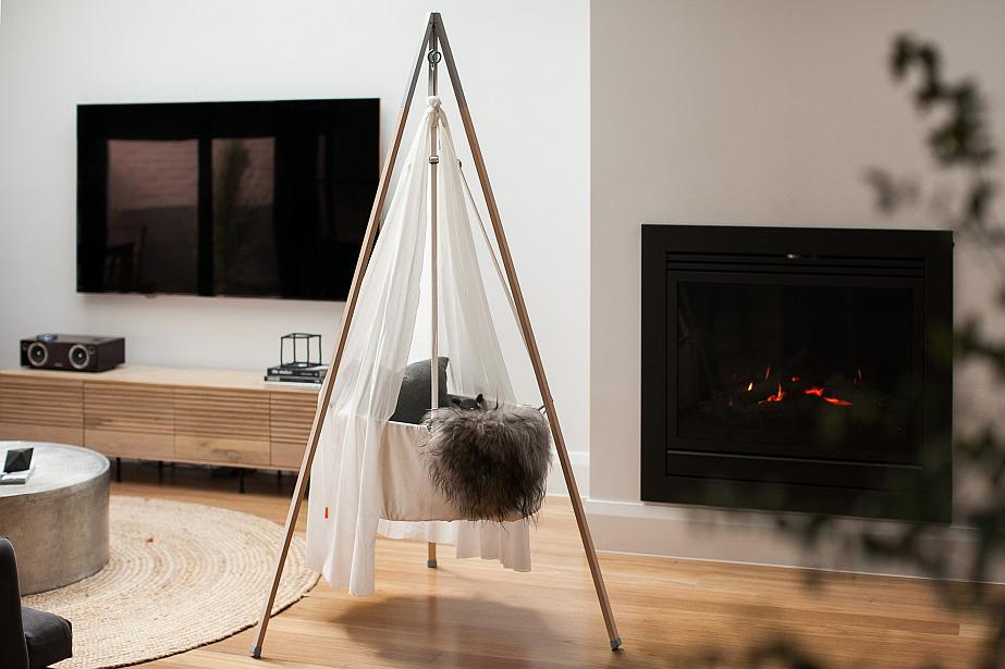 Modern lounge room with Leander Cradle