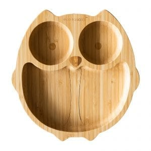 Eco rascal owl compartment plate in organic bamboo