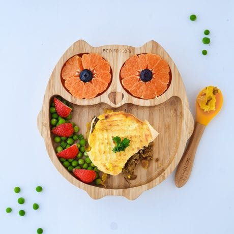 eco rascal bamboo owl plate with fruit and pie