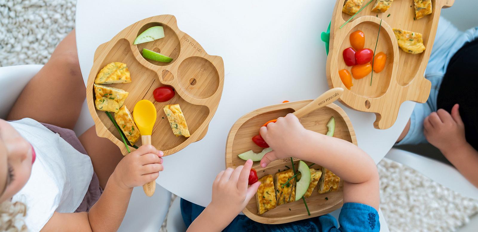 Colourful kids meals on eco rascal organic bamboo plates