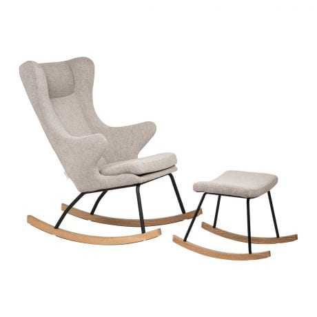 Quax rocking nursing chair and matching footstool in sand grey