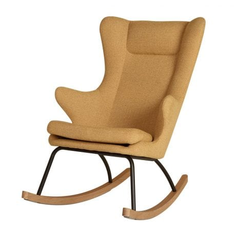 Retro design mustard coloured rocking nursing armchair