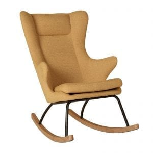 Retro design mustard coloured rocking nursing armchair